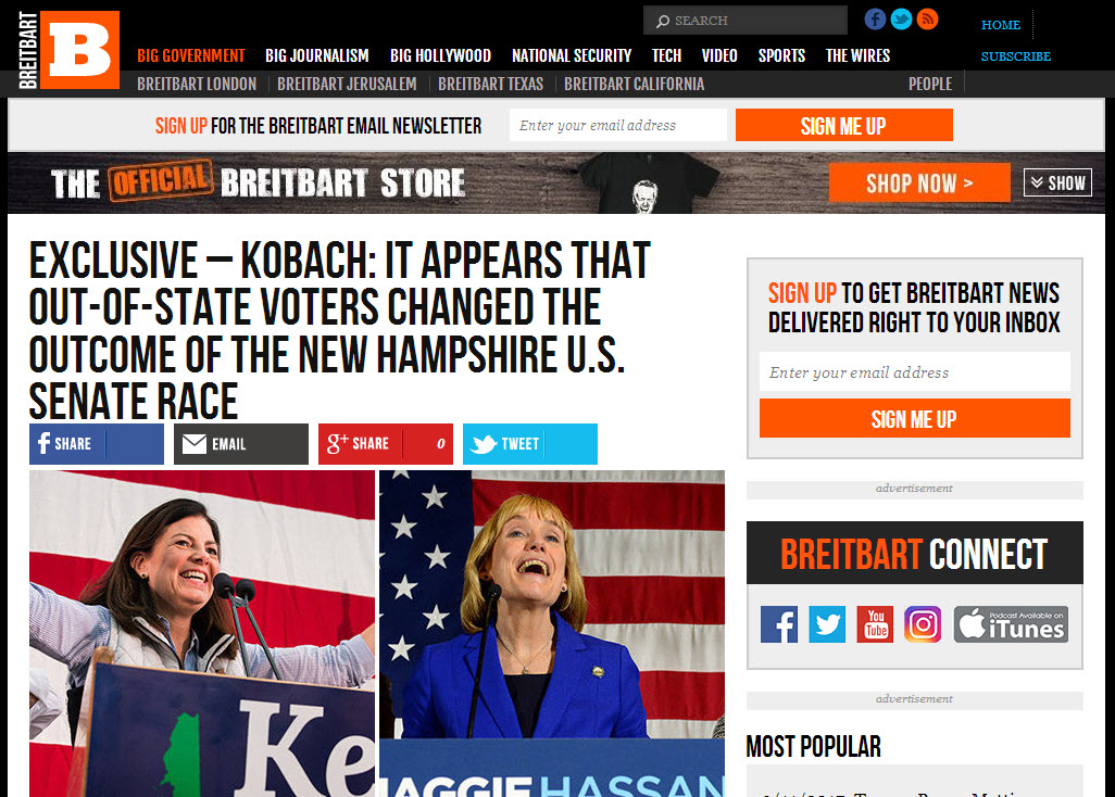 Kansas Sec  of State Kris Kobach Excites the Breitbart audience with