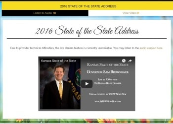 Kansas 2016 State of the State Address–'experiencing technical difficulties'